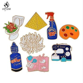 Trendy Oly2u Enamel pins Toilet flower Sewing machine Palette pyramid paint Hand tools Brooch Button Pin Denim Jacket Pin Badge Gift AT_94_13