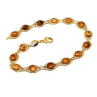 """(1-0953-h6) Gold Overlay Colored Accents Bracelet, 7-1/4""""."""