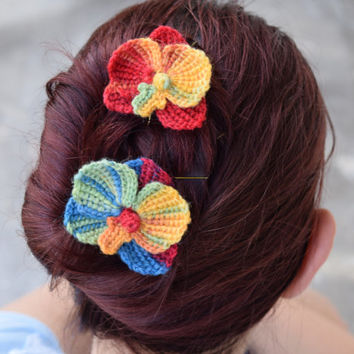 Bridal hairpins set of two, rainbow colored orchid flowers, crocheted colorful flowers