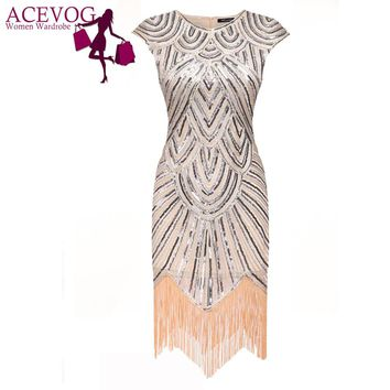 ACEVOG Summer 2017 Women Sleeveless Art Deco Tassel Party Dress Wedding Slim O Neck Knee Length Flapper Vintage Sequin Dresses