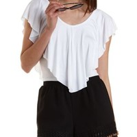 Cropped Jersey Knit Flutter Top by Charlotte Russe