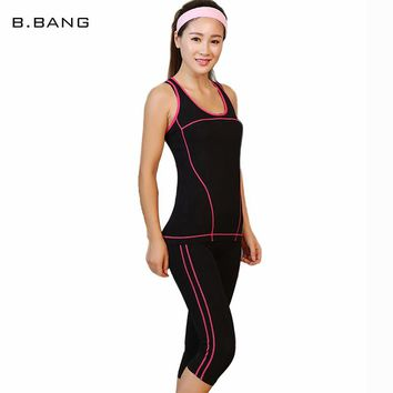 B.BANG Women's Set Top Vest + Elasticity Leggings Pants Casual Striped Fashion Female Clothes Quick-dry 1 Set