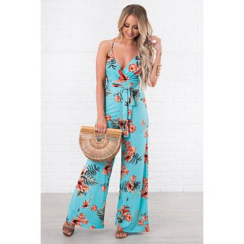 Tropical Life Floral Jumpsuit (Aqua)