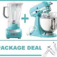 KitchenAid Artisan Tilt Stand Mixer, Blender and hand mixer Blue Collection 5 Qt. KSM150PSAQ Aqua Sky