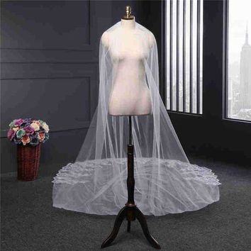 Kiwarm 4m White/ivory Luxury One Layer Beaded Sequins Lace Edge Cathedral Wedding Long Veil With Comb For Handmade Material