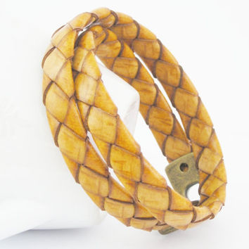 Double wrapped rustic natural flat braided leather bracelet with magnetic clasp