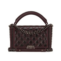 Chanel Burgundy Quilted Shiny Goatskin New Medium Boy Bag With Top Handle