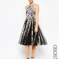 ASOS Tall | ASOS TALL Mesh Fit And Flare Midi Dress in Dark Floral Print at ASOS