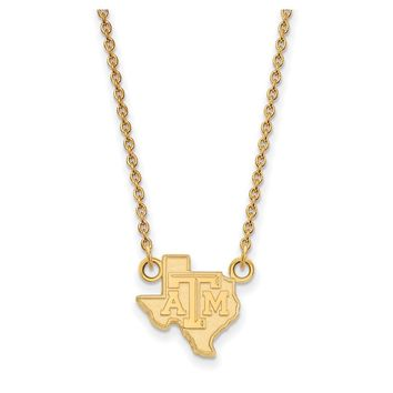 NCAA 14k Gold Plated Silver Texas A&M U Sm 'TAM' Pendant Necklace