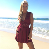 Lace Of My Life Romper In Burgundy