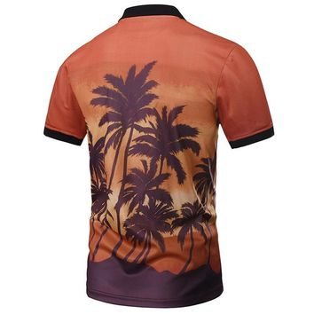 New Fashion Polo Shirts Men 3d Shirts Print Sunset Coconut Tree Summer Tops Designed P