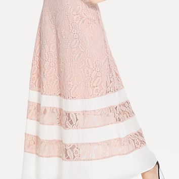 Contrast Tape Lace Maxi Skirt