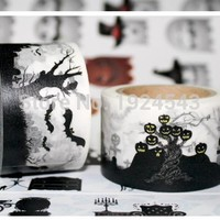 Extra Wide Black Spirit Halloween Washi