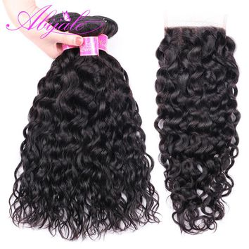 Abijale Water Wave Bundles With Closure Malaysian Hair Bundles With Closure Non Remy Human Hair Bundles With Closure