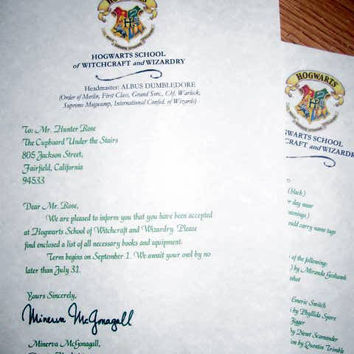 Harry Potter Hogwarts Acceptance Letter by LegendaryLetters