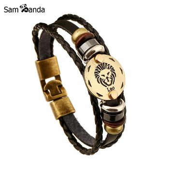 12 Constellation Bracelets 2017 New Fashion Leather Zodiac Handmade Bracelet Men Casual Personality Alloy Vintage Punk Jewelry