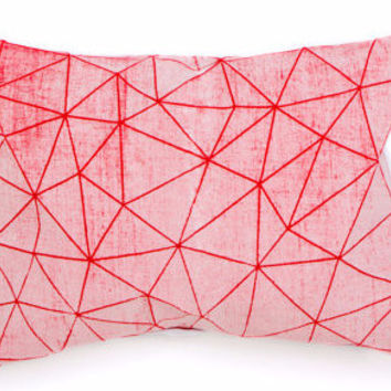 Red + White Geometric Pillow
