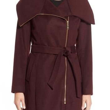 Cole Haan Signature Belted Asymmetrical Wool Blend Coat | Nordstrom