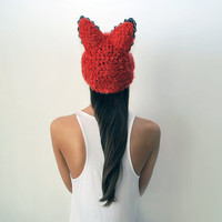 $95.00 Glamorous orange foxy crochet hat with laces headdress by UTHAhats