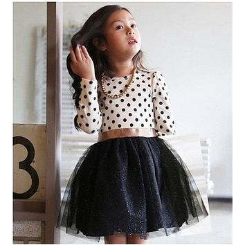 2018 New Autumn Winter Kids Toddlers Girls Dresses Polka Dot Bow-Knot Long Sleeve Dress Girl Clothing Party Kids Clothes 3-8Year
