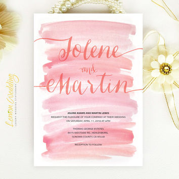 Watercolor wedding Invitation | Simple calligraphy script coral engagement party invitation | Printed on luxury  white pearlescent paper