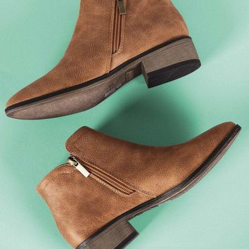 Bamboo Side Zip-Up Ankle Boots