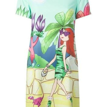 Moschino Cheap & Chic Lady And Dog Print Dress