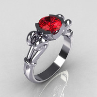 Modern Antique 14K White Gold 1.0 Carat Round Red Ruby Designer Solitaire Ring R122-14WGRR