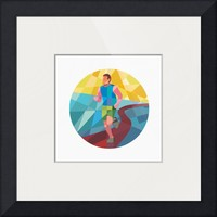"""Marathon Runner Running Circle Low Polygon"" by Aloysius Patrimonio"