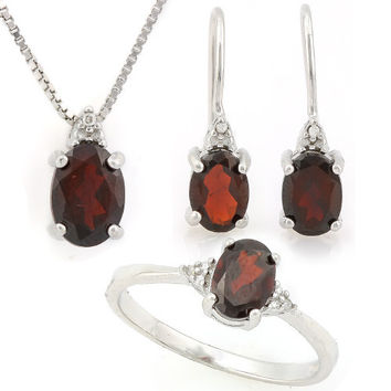 Sterling Silver Garnet Oval and Diamond Ring, Earrings and Necklace Set