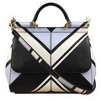 DOLCE & GABBANA Miss Sicily Striped Chevron White Blue Black Dauphine Leather Medium Bag Handbag Purse Tote