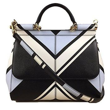 DOLCE   GABBANA Miss Sicily Striped Chevron White Blue Black Dau 27a446e37d