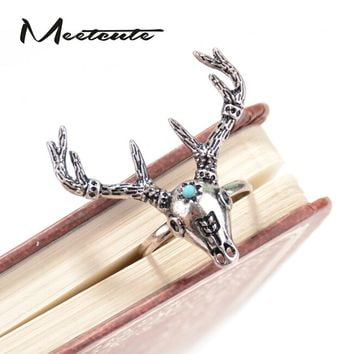 Meetcute Unique Animal Jewelry Christmas Special Design Natural Stone Elk Head Rings for Men and Women