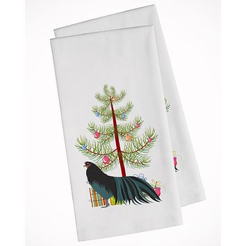 Sumatra Chicken Christmas White Kitchen Towel Set of 2 BB9200WTKT