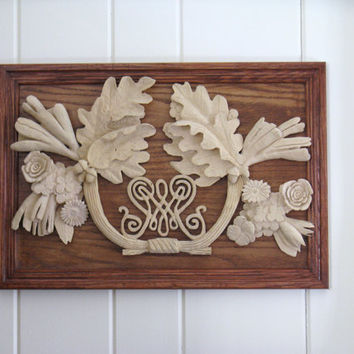 Woodworking Art Personalized Wedding Gift Wood Anniversary Monogram Plaque 1st Christmas as a couple gift oak leaves acorns Woodworking Art