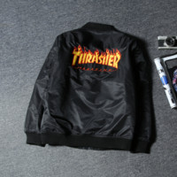 Thrasher Fashion Women Men Baseball Jacket Coat Aviation jacket Black