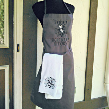 Jack Skellington Nightmare Before Christmas Apron and hand towel set - Embroidered and Personalized Apron