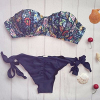 Retro Vintage Shell Pattern Strapless Bikini Set Swimwear BK014