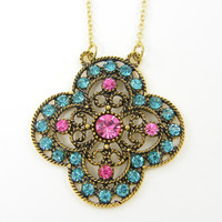 Pink Blue Rhinestone Pendant Necklace - Boho Aqua Gold Four Leaf Clover Cross Ornate Medallion Necklace