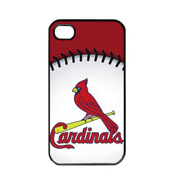 MLB Major League Baseball St. Louis Cardinals Logo Apple iPhone 4 / 4s TPU Soft Black or White case (Black)