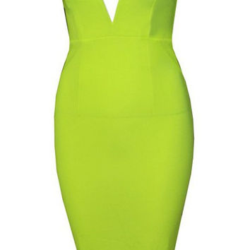 Deep Plunge Strapless Bodycon Dress