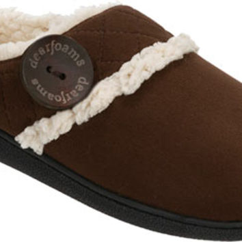 Dearfoams Quilted Microsuede Clog Slipper with Memory Foam