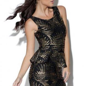 Gold Foil Sleeveless Peplum Dress with Allover Leaf Print
