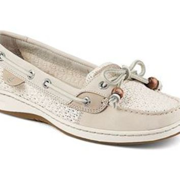 Sperry Top-Sider Womens Angelfish Ivory Cotton Mesh Boat Shoes STS91251