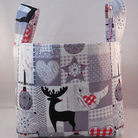 White, Gray and Red Christmas Basket With Handles For Storage Or Gift Giving