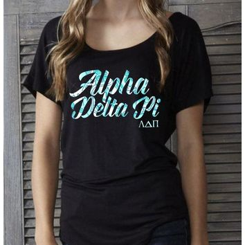 Black & Pattern Casual Round Neck Sorority Tee's  / Little Sister / Big Sister / Twin sister / Alumni Shirts