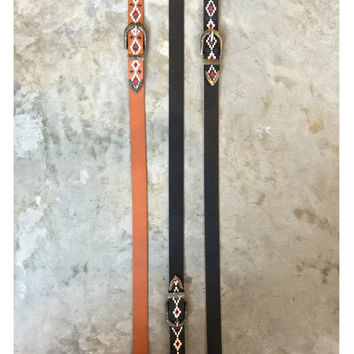 DOUBLE BUCKLE EMBROIDERED BELT