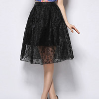Black See Through Lace Skirt With Floral Print