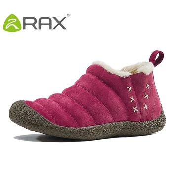 RAX Men Waterproof Hiking Snow Boots Warm Winter Outdoor Boots Pig Leather Breathable Shoes Breathable Walking Shoes 54-5N342
