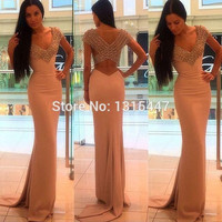Fast Shipping 2016 Crystals Champagne Prom Dresses Short Sleeve Sexy Women V Neck Formal Party Evening Pageant Gowns Backless